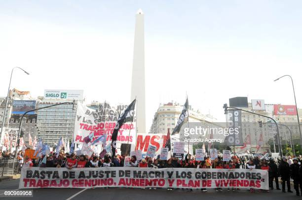 Argentine political organization Polo Obrero members gather at Obelisco de Buenos Aires to protest against rejection of the Plan Empalme presented a...