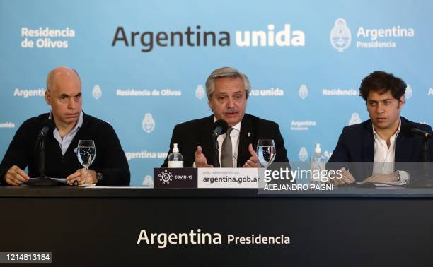 Argentine President Alberto Fernandez , flanked by the Head of Government of the Autonomous City of Buenos Aires, Horacio Rodriguez Larreta , and...