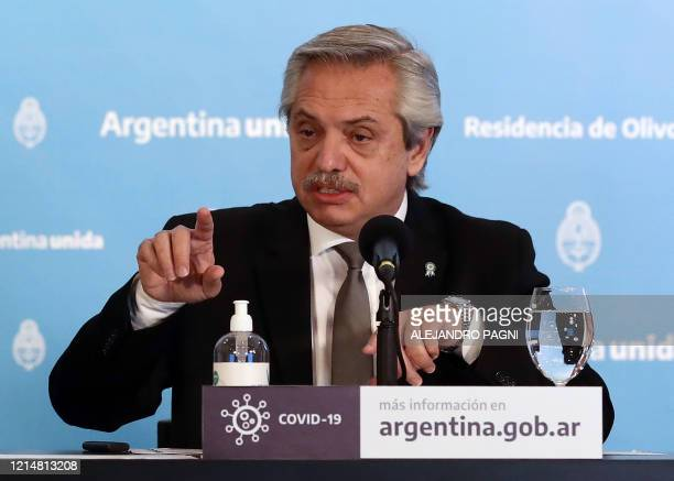 Argentine President Alberto Fernandez offers a press conference to announce new measures regarding the lockdown to slow the spread of the novel...