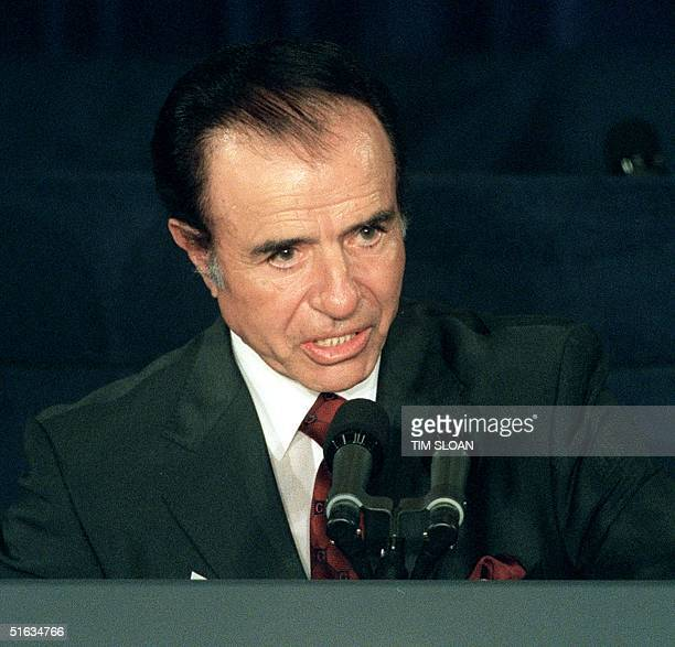 Argentine President Carlos Menem addresses an audience during the opening ceremonies of the annual Meetings of the Board of Governors of the...