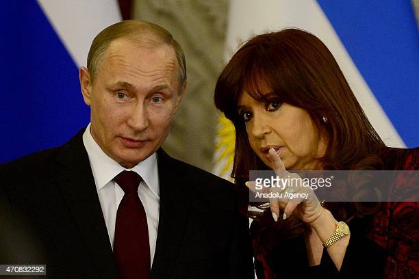 Argentine President Cristina Fernandez de Kirchner and Russian President Vladimir Putin are seen during a joint press conference at the Kremlin in...