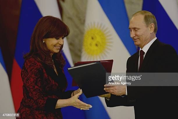 Argentine President Cristina Fernandez de Kirchner and Russian President Vladimir Putin are seen after signing bilateral agreements at the Kremlin in...