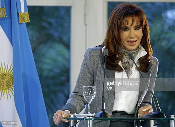 Argentine President Cristina Fernandez de Kirchner answers questions during a press conference in the Presidential Residence in Olivos Buenos Aires...