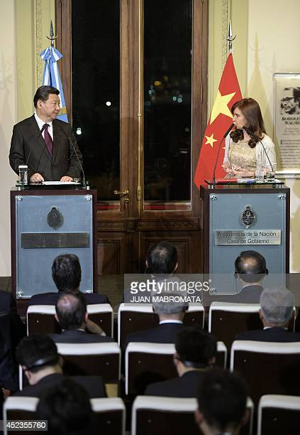 Argentine President Cristina Fernandez de Kirchner delivers a press conference next to China's President Xi Jinping after meeting and signing...