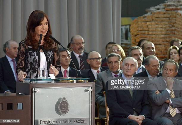 Argentine President Cristina Fernandez de Kirchner delivers a speech alongside former Presidents Fernando de La Rua and Adolfo Rodriguez Saa at Museo...