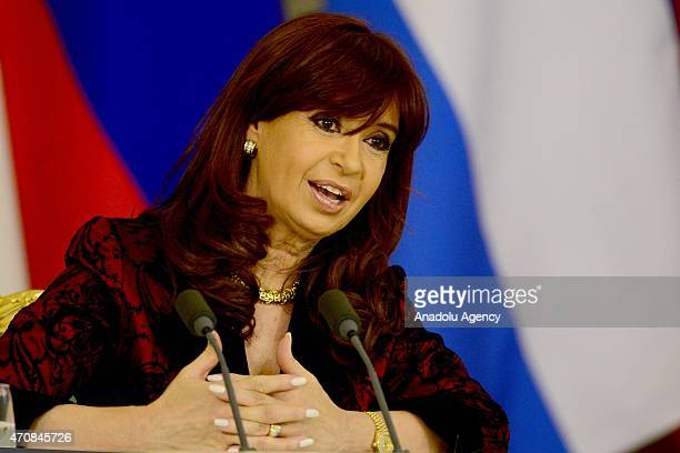 Argentine President Cristina Fernandez de Kirchner delivers a speech during a joint press conference with Russian President Vladimir Putin at the...