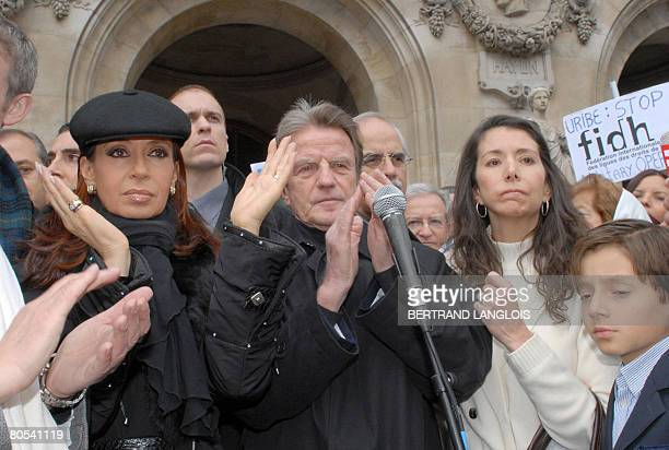 Argentine President Cristina Fernandez de Kirchner , French Foreign minister Bernard Kouchner , Astrid Betancourt , sister of French-Colombian...