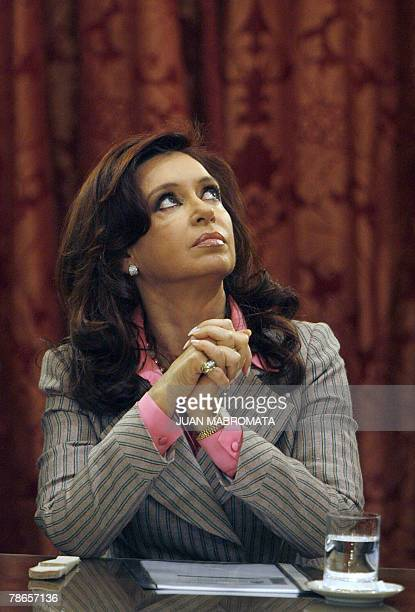 Argentine president Cristina Fernandez de Kirchner gestures during a press conference at the Casa Rosada government palace in Buenos Aires on...