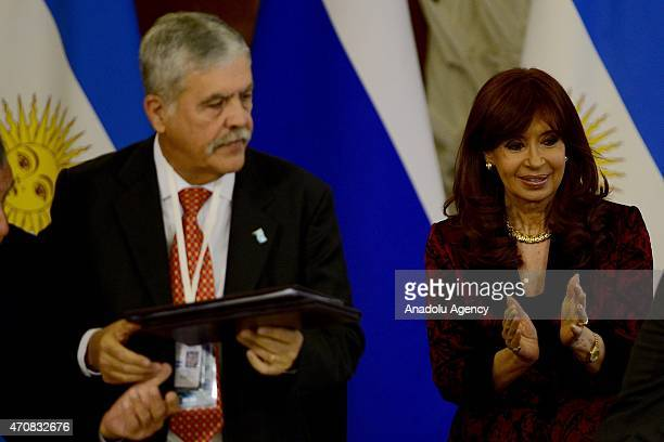 Argentine President Cristina Fernandez de Kirchner is seen after a joint press conference with Russian President Vladimir Putin at the Kremlin in...
