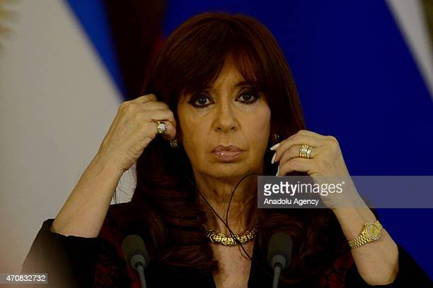 Argentine President Cristina Fernandez de Kirchner is seen during a joint press conference with Russian President Vladimir Putin at the Kremlin in...