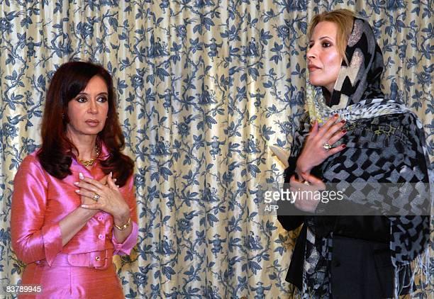 Argentine President Cristina Fernandez de Kirchner meets Aisha Moamer Kadhafi daughter of the Libyan leader in Tripoli on November 22 2008 Fernandez...