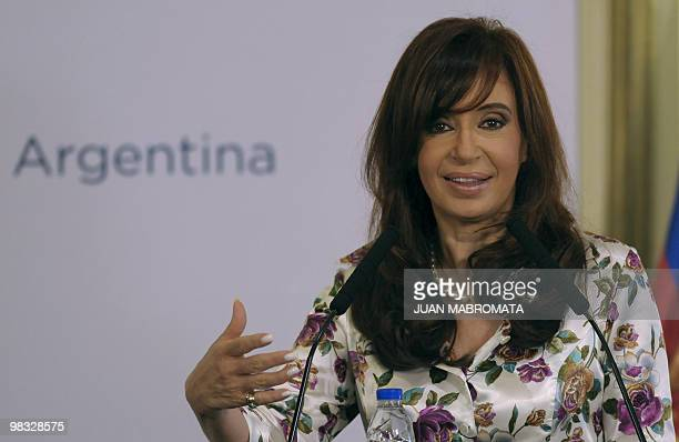 Argentine President Cristina Fernandez de Kirchner speaks during a joint press conference offered with her Chilean counterpart Sebastian Piñera...