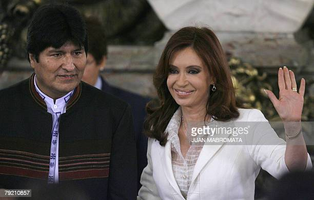 Argentine President Cristina Kirchner and Bolivian President Evo Morales attend the ceremony to put out to tender the construction of the Argentinian...
