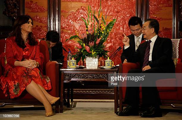 Argentine President Cristina Kirchner listens to Chinese Premier Wen Jiabao during a meeting at the Zhongnanhai leadership compound July 14, 2010 in...