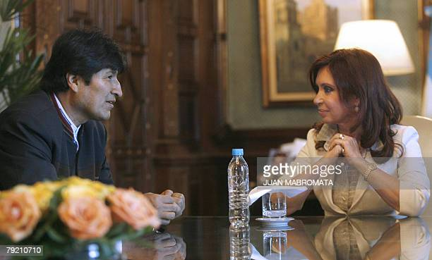 Argentine President Cristina Kirchner meets with Bolivian President Evo Morales, before attending the ceremony during which it will be put out to...