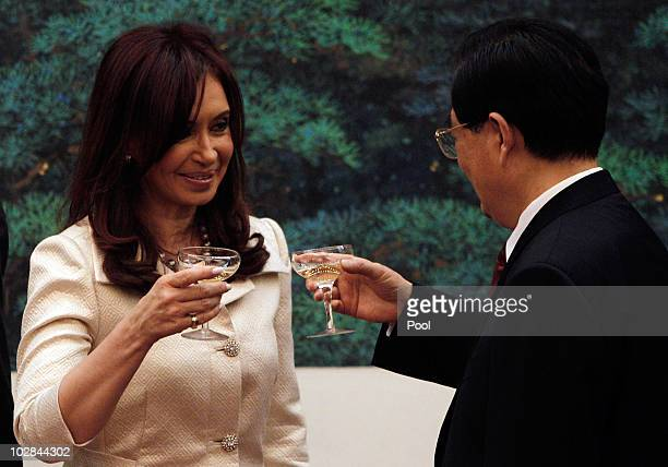 Argentine President Cristina Kirchner toasts with Chinese President Hu Jintao after a signing ceremony at the Great Hall Of The People on July 13...