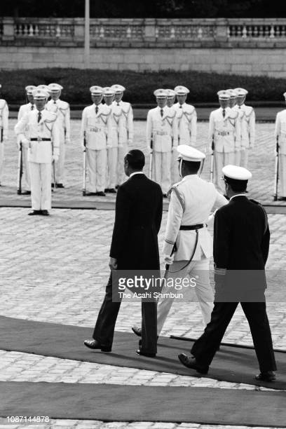 Argentine President Jorge Rafael Videla reviews the honour guard during the welcome ceremony at the Akasaka State Guest House on October 8 1979 in...