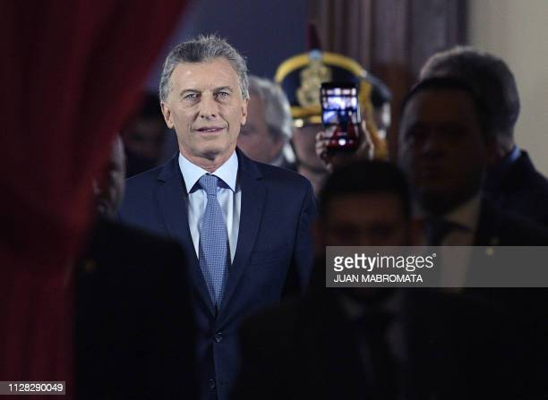 Argentine President Mauricio Macri arrives to inaugurate the 137th period of ordinary sessions at the Congress in Buenos Aires, Argentina on March 1,...