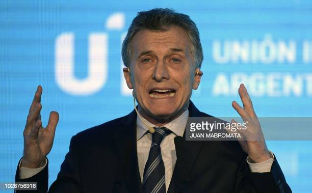 Argentine President Mauricio Macri delivers a speech during the closing ceremony of the Argentine Industrial Union 24th annual meeting in Buenos...