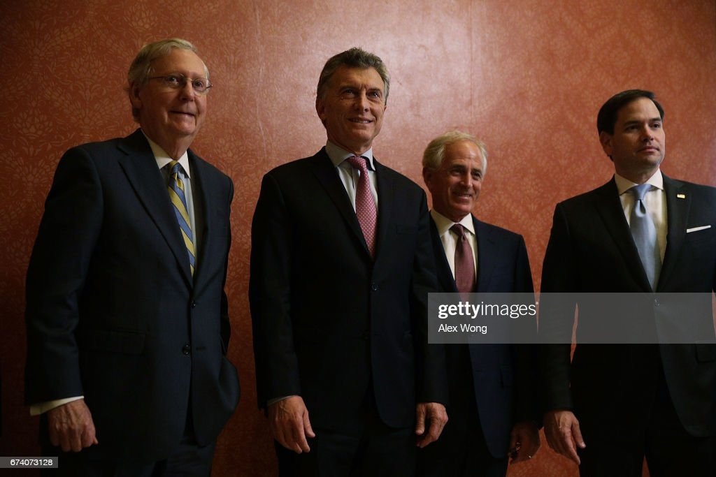Argentine President Mauricio Macri (2nd L) poses for photographers with (L-R) U.S. Senate Majority Leader Sen. Mitch McConnell (R-KY), Sen. Bob Corker (R-TN) and Sen. Marco Rubio (R-FL) prior to a meeting at the Capitol April 27, 2017 in Washington, DC. President Macri had a meeting with President Donald Trump earlier at the White House today.