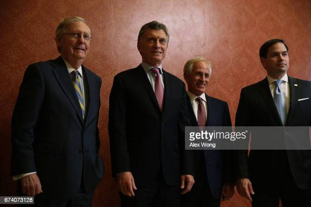 Argentine President Mauricio Macri poses for photographers with US Senate Majority Leader Sen Mitch McConnell Sen Bob Corker and Sen Marco Rubio...