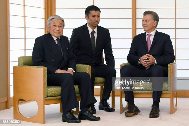 Argentine President Mauricio Macri talks with Emperor Akihito during their meeting at the Imperial Palace on May 20 2017 in Tokyo Japan