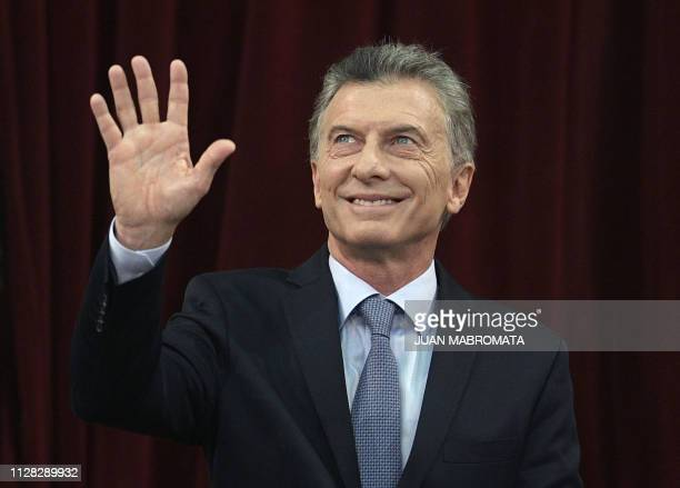 Argentine President Mauricio Macri waves during the inauguration of the 137th period of ordinary sessions at the Congress in Buenos Aires, Argentina...