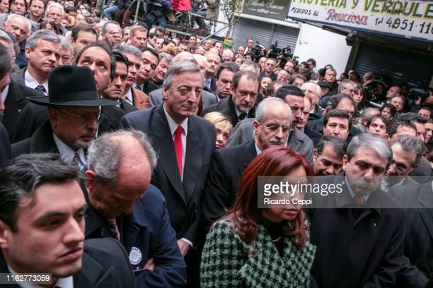 Argentine President Nestor Kirchner and his wife Senator Cristina Fernandez de kirchner attends a commemoration ceremony of a terrorist bombing at...