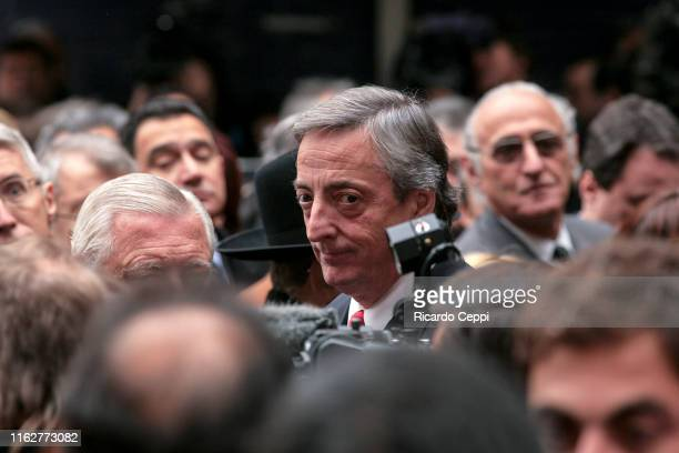 Argentine President Nestor Kirchner attends a commemoration ceremony of a terrorist bombing at the Argentine Israelite Mutual Association on July 18...