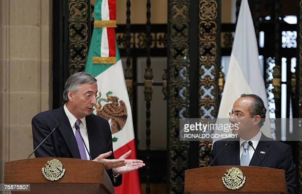 Argentine President Nestor Kirchner speaks during a press conference with Mexican President Felipe Calderon at the National Palace in Mexico City 30...
