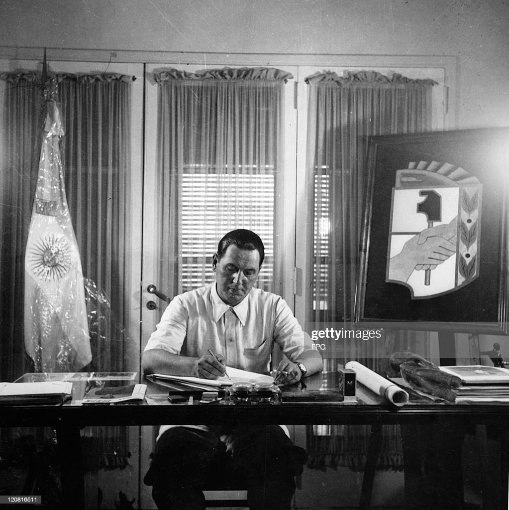 Argentine president-elect Juan Peron (1895 - 1974) in his office, Buenos Aires, March 1946.