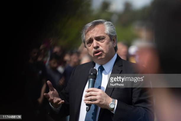 Argentine presidential candidate Alberto Fernandez of Frente de Todos party speaks during a campaign Rally in Buenos Aires on October 7 2019