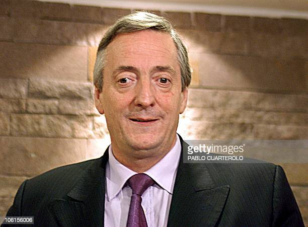 Argentine presidential candidate Nestor Kirchner of the Victory Front party is seen in his office 30 April 2003 in Buenos Aires A new opinion poll...