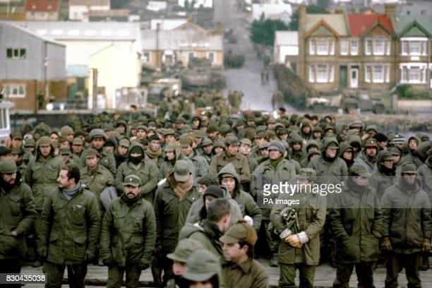Argentine prisoners of war massed in Port Stanley capital of the Falkland Islands after their surrender to the British Falkland Islands Task Force