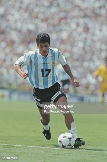 Argentine professional footballer Ariel Ortega midfielder with River Plate pictured making a run with the ball during play between Romania and...