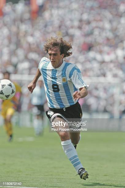 Argentine professional footballer Gabriel Batistuta striker with Fiorentina pictured making a run with the ball during play between Romania and...