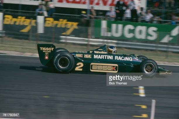 Argentine racing driver Carlos Reutemann drives the Martini Racing Team Lotus Lotus 79 FordCosworth DFV V8 to finish in 8th place in the 1979 British...