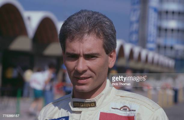 Argentine racing driver Oscar Larrauri driver of the the EuroBrun Racing EuroBrun ER188 Ford Cosworth DFZ 35 V8 pictured prior to competing in the...