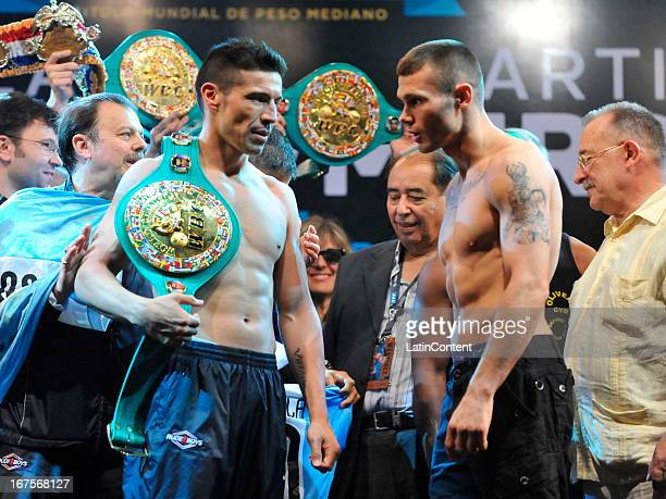 Argentine Sergio Martinez and English Martin Murray stare to each other during the weigh in at Buenos Aires Sheraton Hotel prior to the WBC...