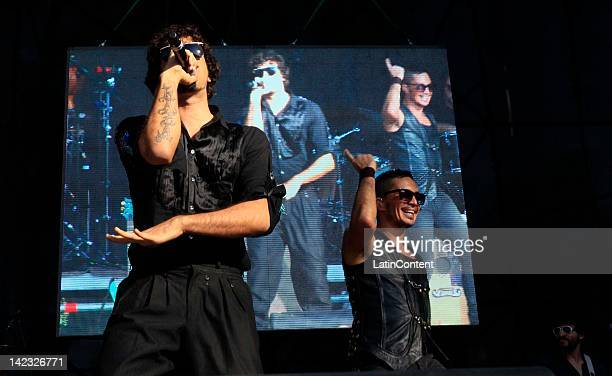 Argentine singer Dante Spinetta and Emmanuel Horvilleur of Illya Kuryaki and the Valderramas performs live on stage during the 2012 Lollapalooza...