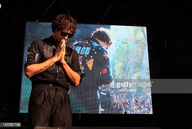 Argentine singer Dante Spinetta of Illya Kuryaki and the Valderramas performs live on stage during the 2012 Lollapalooza Music Festival at OHiggins...
