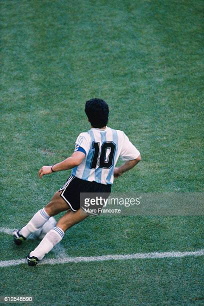 Argentine soccer legend Diego Maradona during the opening game of the 1990 FIFA World Cup against Cameroon