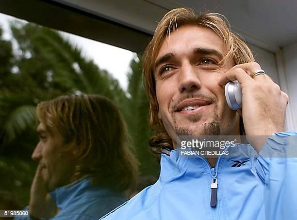 Argentine soccer player Gabriel Omar Batistuta is seen speaking on his cell phone in Buenos Aires 05 October 2001 Gabriel Omar Batistuta de la...