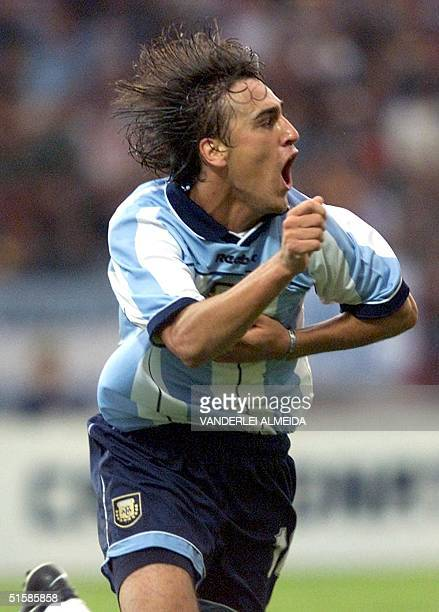 Argentine soccer player of the selection for SUB20 Matias Lequi celebrates his goal against Colombia during the first game of the XX South American...