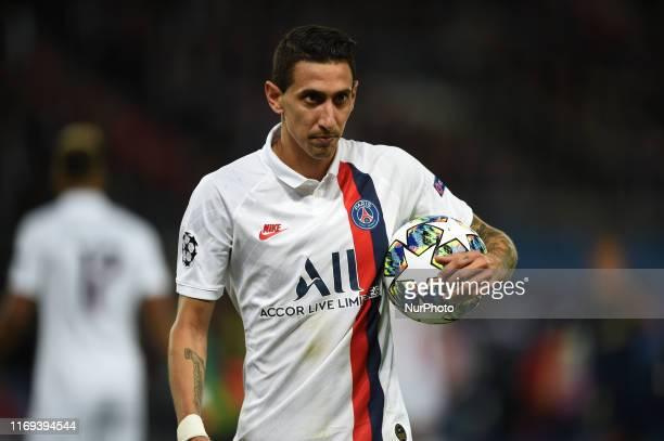 Argentine striker Angel Di Maria born in 1988 Paris Saint German midfielder plays during the Paris Saint German Real Madrid match valid for the first...