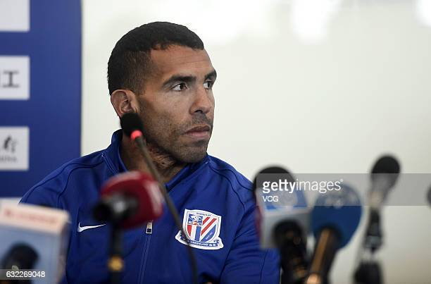 Argentine striker Carlos Tevez attends a press conference on January 21 2017 in Shanghai China Carlos Tevez held his first press conference for his...