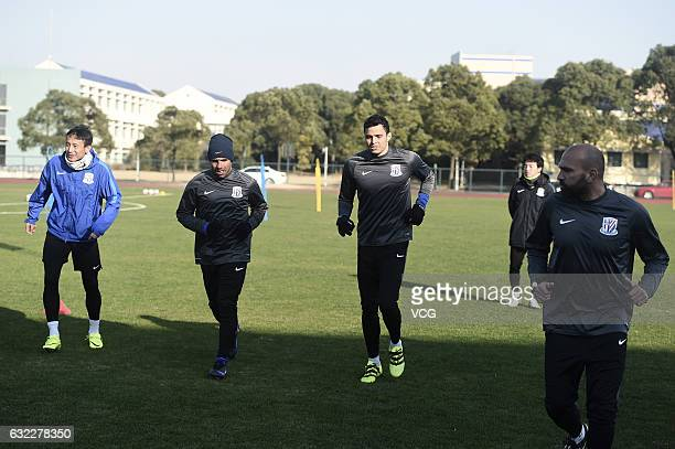 Argentine striker Carlos Tevez takes part in his first training session with his new club Shanghai Shenhua on January 21 2017 in Shanghai China