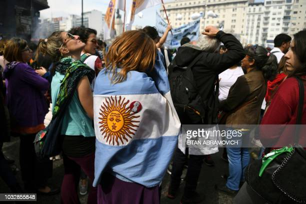 Argentine teachers demonstrate outside the Congress during a national strike in Buenos Aires on September 13 2018 Teachers demand wage increase and...