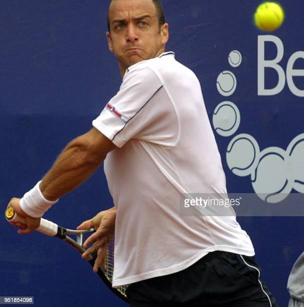 Argentine tennis player Franco Squillari plays against Spanish player Ruben Ramirez-Hidalgo, during the first round at the ATP tournament in Viña del...