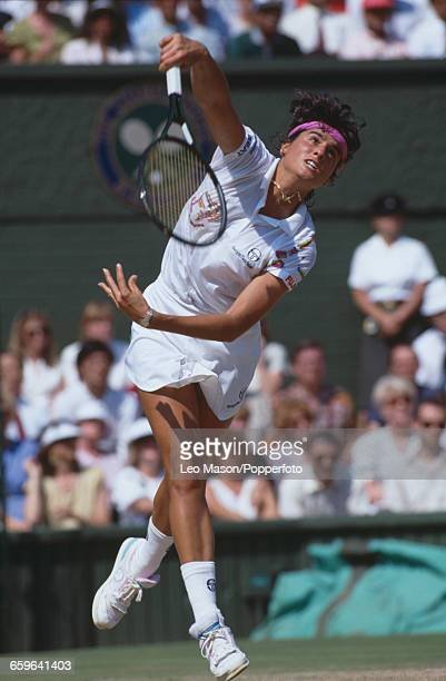 Argentine tennis player Gabriela Sabatini pictured in action during progress to reach the final of the Ladies' Singles tournament at the Wimbledon...